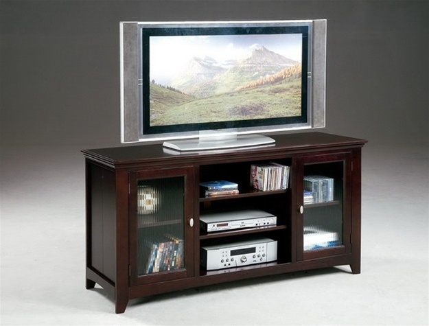 jeffery 60 tv console with narrow reed glass front doors in cappuccino finish by crown mark 4821. Black Bedroom Furniture Sets. Home Design Ideas
