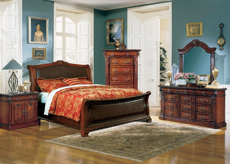 Neo Renaissance Sleigh Bed 6 Piece Bedroom Suite in Cherry Finish