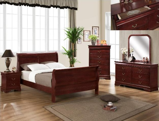 louis philip 6 piece bedroom suite in martini cherry