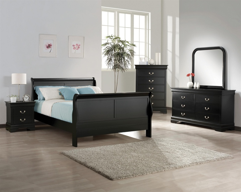 Louis philip 6 piece bedroom suite in black finish by for Black bedroom suite