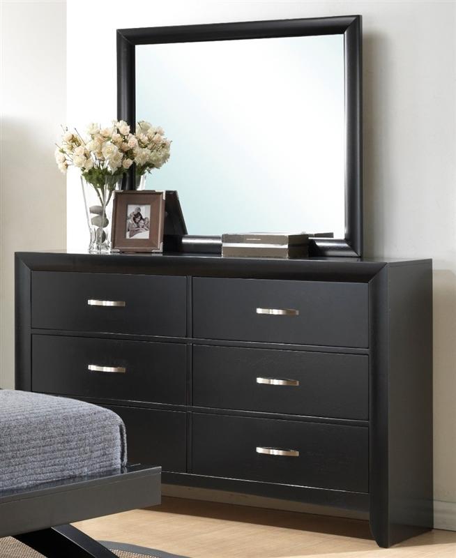 Galinda 6 piece bedroom suite in black finish by crown for Black bedroom suite