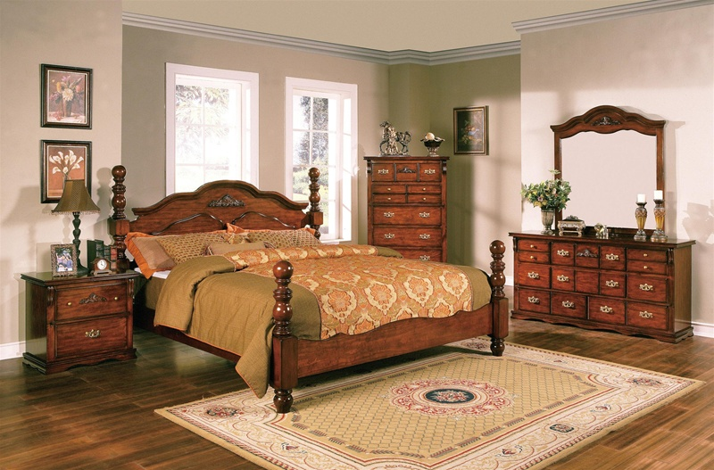 Coventry 6 Piece Bedroom Suite In Dark Pine Finish By