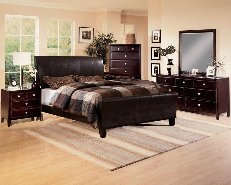 Tomas dark brown bycast upholstered bed 6 piece bedroom - Espresso brown bedroom furniture ...