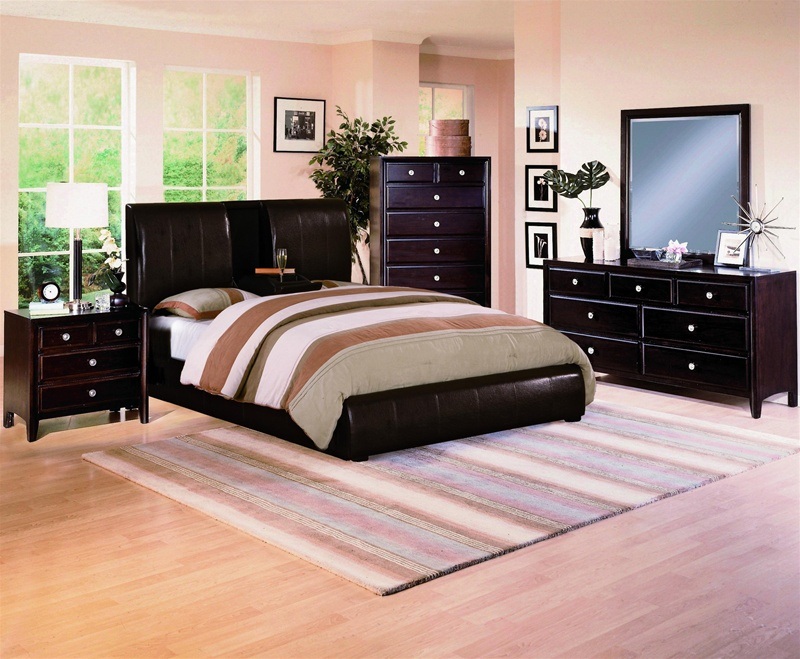 Flynn dark brown bycast upholstered platform bed 6 piece - Espresso brown bedroom furniture ...
