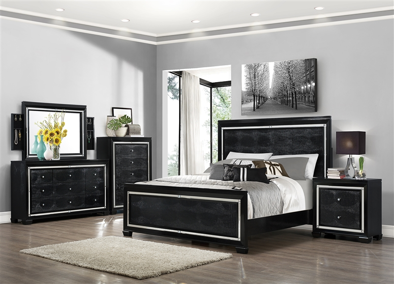 aria 6 piece bedroom suite in black finish by crown mark