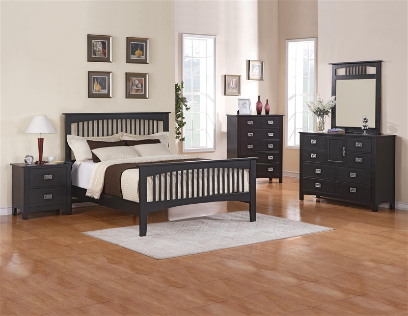 Mission 6 piece bedroom suite in black finish by crown for Black bedroom suite