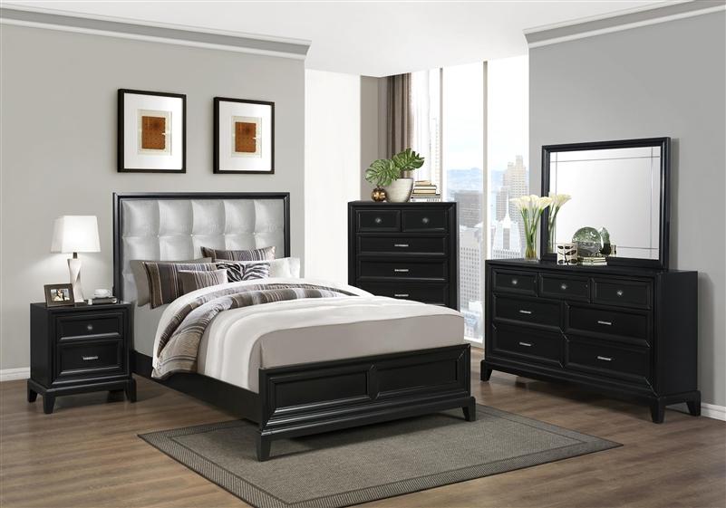 Elisa 6 piece bedroom suite in black finish by crown mark for Black bedroom suite