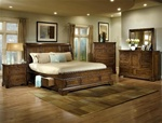 Morgan 6 Piece Storage Bed Bedroom Suite in Heritage Brown Finish by Crown Mark - H5050S