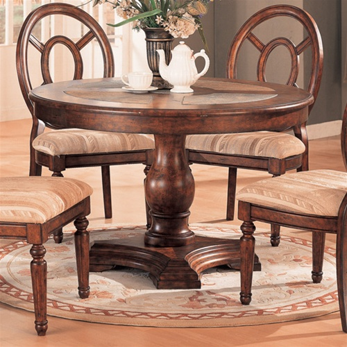 Distressed Round Top 5 Piece Dining Table Set With Slate