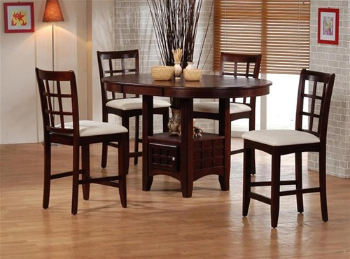 sunburst oak counter height 5 piece dining set with round/oval