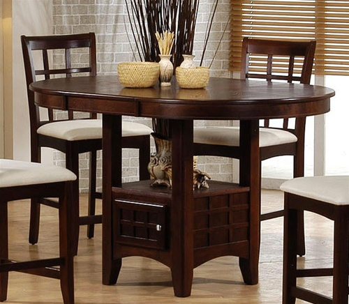 Sunburst Oak Counter Height 5 Piece Dining Set With Round
