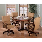 Three In One Bumper/Poker/Dining 5 Piece Table Set in Cherry Finish by Coaster -100171