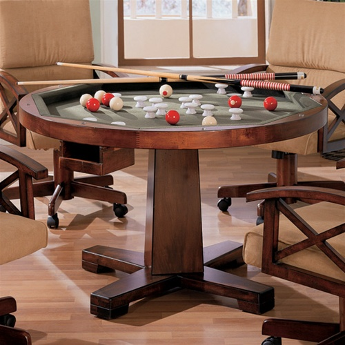 Three In One Bumper/Poker/Dining 5 Piece Table Set In