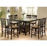 Rich Cappuccino Counter Height 9 Piece Table Set by Coaster-100438