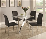 Vance 5 Piece Round Glass Top Dining Set by Coaster - 100498