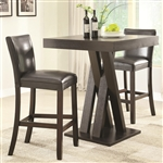 3 Piece Bar Table Set in Cappuccino Finish by Coaster - 100520B