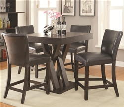 5 Piece Counter Height Table Dining Set in Cappuccino Finish by Coaster - 100523