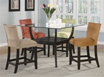 5 Piece Glass Top Counter Height Table Set in Cappuccino Finish by Coaster - 100588