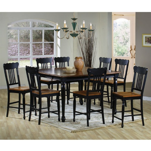 Two Tone Black Pine Finish Country Look Counter Height 9 Piece Dining Set By