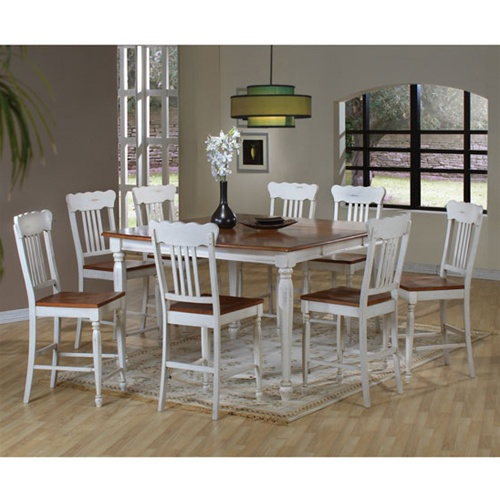Two Tone Cream Pine Finish Country Look Counter Height 9 Piece Dining Set By
