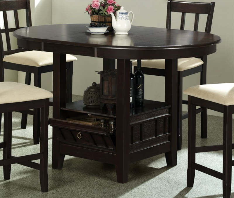 5 piece round counter height table set in dark cherry
