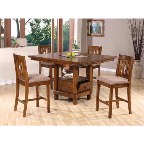 Dining Sets With Storage: Storage Counter Height 5 Piece Dining Set In Oak Finish By