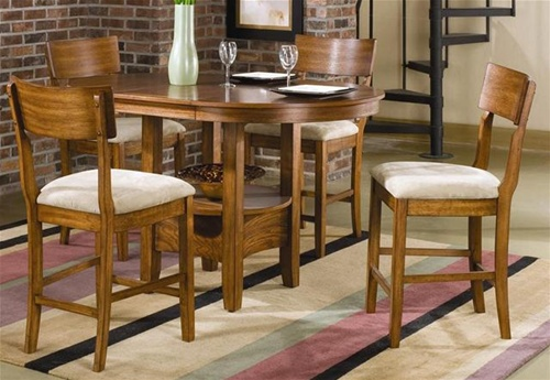 Storage Counter Height 5 Piece Dining Set With Round/Oval Table Top In Oak  Finish By Coaster   101008