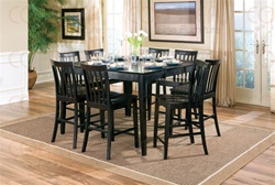 9 Piece Counter Height Table Set in Rich Black Finish by Coaster - 101038BLK