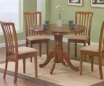 Oak Finish Round Table 5 Piece Dining Set by Coaster -101091