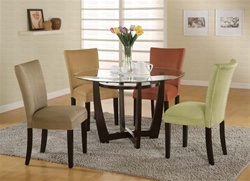 5 Piece Dinette Set with Round Glass Table Top in Cappuccino Finish by Coaster - 101490