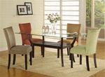 5 Piece Dinette Set with Rectangular Glass Table Top in Cappuccino Finish by Coaster - 101491