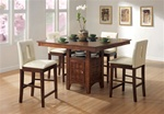 Roxy Lazy Susan Storage Base 5 Piece Counter Height Dining Set in Walnut Finish by Coaster - 101569