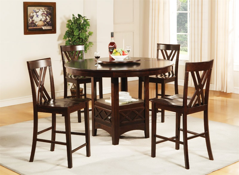 Claire Lazy Susan Storage Base 5 Piece Counter Height Dining Set In Espresso  Finish By Coaster   101588