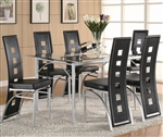 Los Feliz Glass Top 5 Piece Dining Table Set by Coaster - 101681