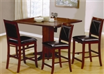 Lancaster 5 Piece Counter Height Set in Deep Distressed Dark Brown Finish by Coaster - 101791-5