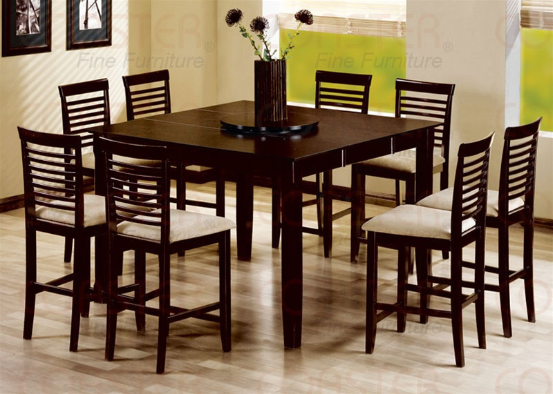9 piece counter height table set in cappuccino finish by coaster