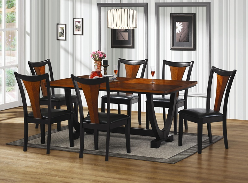 boyer 7 piece dining set in two-tone cherry and black finish