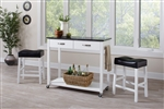3 Piece Mobile Kitchen Cart Dinette in White Finish by Coaster - 102134