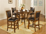 Nelms 5 Piece Counter Height Dining Set in Brown Walnut Finish by Coaster - 102178