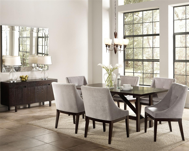 candice 7 pc dining table set in cappuccino finish by coaster 102230 - Beautiful Dining Table And Chairs