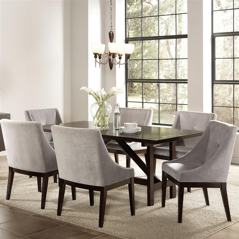 Candice 7 Pc Dining Table Set in Cappuccino Finish by Coaster - 102230