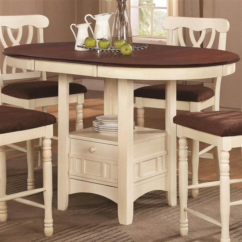 Black And Cherry Round Table And Two Dinette Chair 3 Piece: Cameron 5 Pc Cottage Counter Height Round Pedestal Table