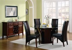 Foxborough Octagon Glass Top 5 Piece Dining Set in Cherry Finish by Coaster - 102241