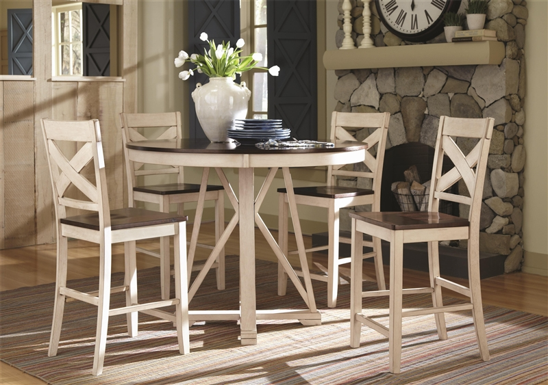 Ellinger 5 Piece Counter Height Dining Set In Antique White And Oak Two  Tone Finish By Coaster   102248