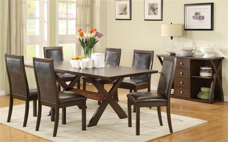 Dobson 7 Pc X Base Dining Table Set In Deep Oak Finish By Coaster