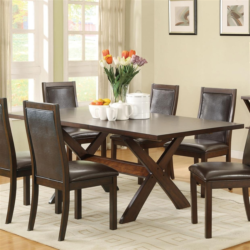 Dobson  Pc X Base Dining Table Set In Deep Oak Finish By Coaster - X base dining table