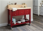 Kitchen Cart in Natural and Red Finish by Coaster - 102667