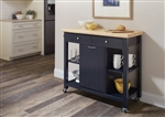 Kitchen Cart in Natural and Navy Blue Finish by Coaster - 102675