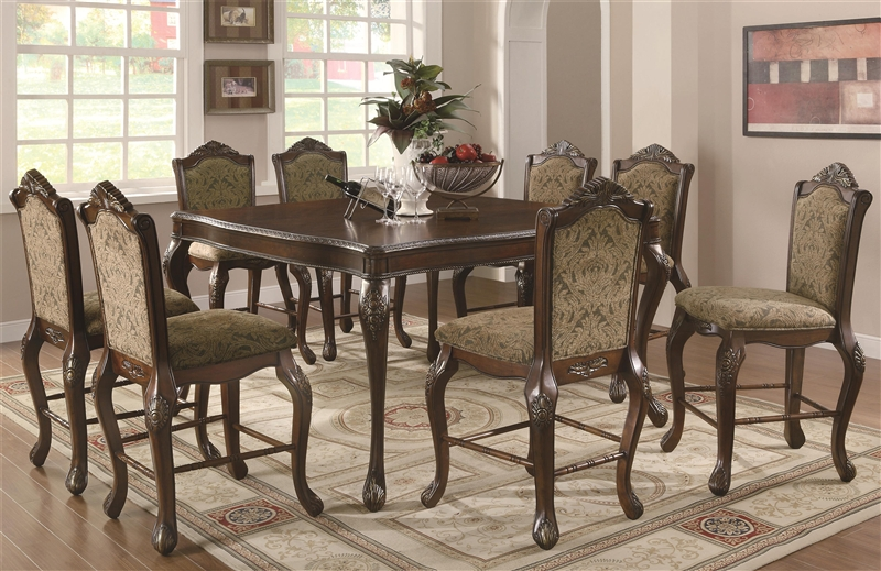 andrea 5 piece counter height dining set in brown cherry finish by coaster