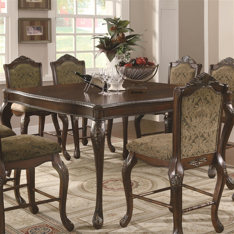 Andrea  Piece Counter Height Dining Set In Brown Cherry Finish By - Counter height dining table with leaf